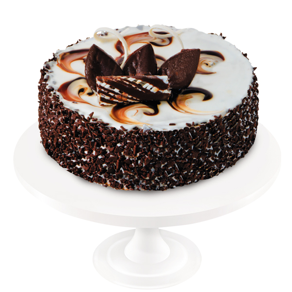 An unforgettable combination of chocolate sponge cake with dairy and sour sauce cream, prunes and walnuts. The cake is decorated with white confectionery gel and fine chocolate ornaments.