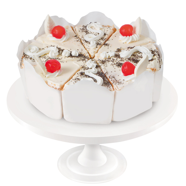 Poppy sponge cake soaked in syrup, with dairy cream and natural cherry jam. The cake is decorated with maraschino cherries and white chocolate ornaments.