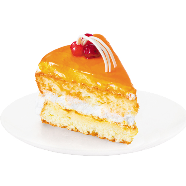 A combination of fine sponge cake with delicate and light cheese cream and peaches. The cake is decorated with fruit mirror glaze and chocolate icing.