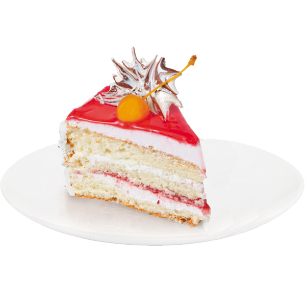 A combination of vanilla white sponge cake soaked in syrup and cherry dairy cream, so loved by many. The cake is decorated with cherry glaze, maraschino cherries and chocolate abstractions.