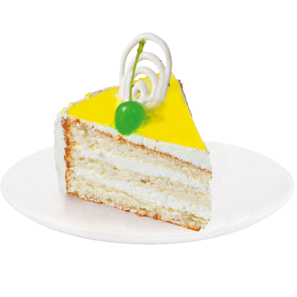 An unsurpassed combination of white sponge cake soaked in fruit syrup with light lemon dairy cream. The cake is decorated with lemon confectionery gel and white chocolate ornaments.