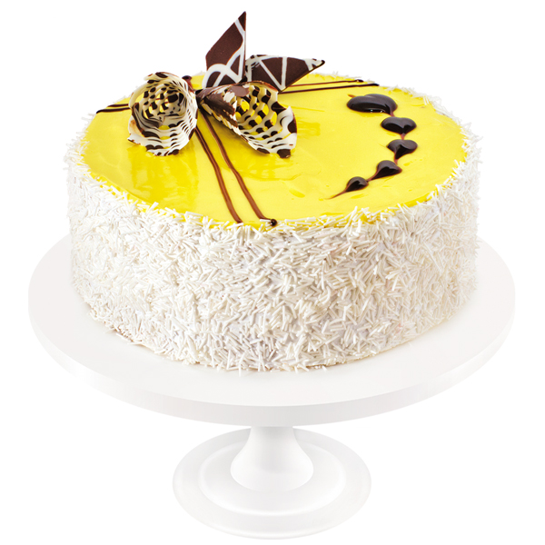 Unsurpassed chocolate sponge cake soaked in syrup, with light yogurt dairy cream. The cake is decorated with fruit confectionery gel and ornaments.