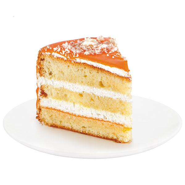An unforgettable combination of vanilla sponge cake soaked in syrup, protein cream and natural apricot jam. The cake is artfully decorated with apricot mirror glaze and white chocolate ornaments.