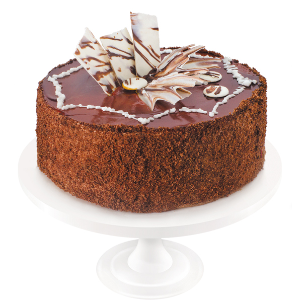 Chocolate sponge cake soaked in syrup, complete with low fat dairy cream, chocolate and prunes. The cake is artfully decorated with chocolate ornaments and caramel confectionery gel.