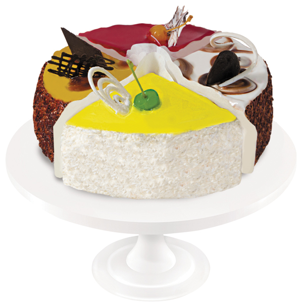 A dainty combination of four cakes in one provides a unique chance to enjoy four different tastes at once.