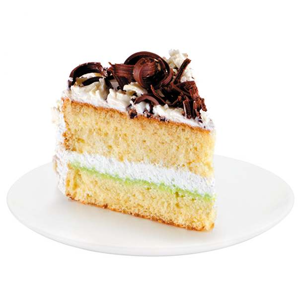 A combination of white sponge cake and dairy cream with condensed milk and pistachio filling creates an unforgettable taste. The cake is decorated with chocolate abstractions made of white and dark chocolate.