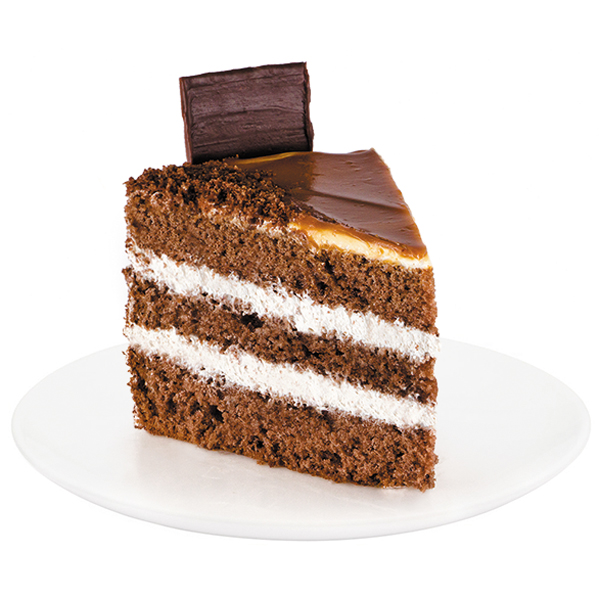Exquisite combination of chocolate sponge cake soaked in coffee syrup, complete with the most delicate dairy cream and caramel. The cake is decorated with fine caramel and chocolate ornaments.