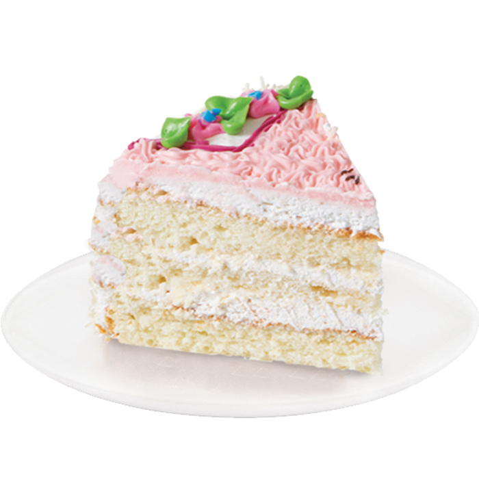 Delicate white sponge cake soaked in fruit syrup, with dairy and apricot cream. The cake is covered with protein soufflé and decorated with butter cream.